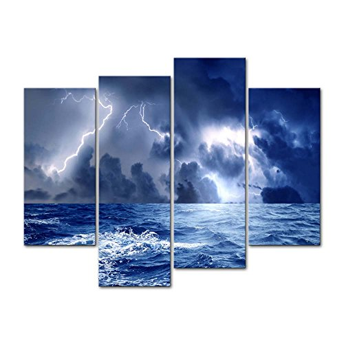 Canvas Print Wall Art Decor Storm Sea Picture Ocean Wave Seascape Pictures Nature Lightning Artwork Weather Poster Prints Stretched On Wooden Frame 4 Panel Image For Home Living Room Office -
