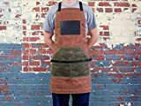 Leather and Canvas Apron, Waxed Canvas Apron, Work Apron, Brown Apron, Cross Strap Apron