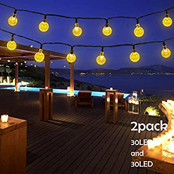 lalapao 2 pack solar powered globe string lights 30 led 19 7ft