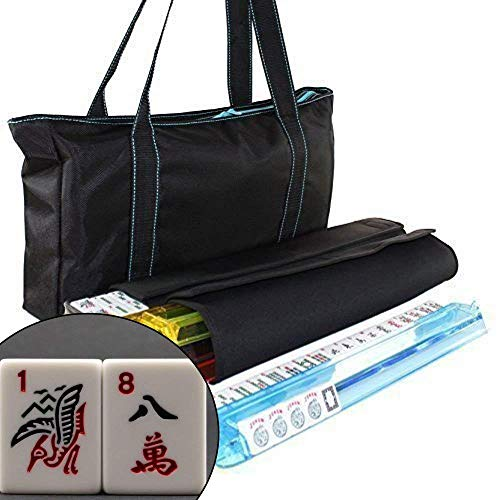 We pay your sales tax American Mahjong Set Waterproof Black Nylon wtih Blue Stitches Bag 4 Color Pushers/Racks Western Mahjongg (Mahjong Set Taiwanese)