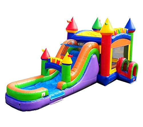 - TentandTable Rainbow Wet Dry Mega Bounce House Tunnel Front, Slide Climbing Wall Combo, Commercial Grade Inflatable, Blower Included