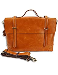 Genuine Leather Messenger Bag Business Work Briefcase for Men Carry Laptop Computer Book Handmade