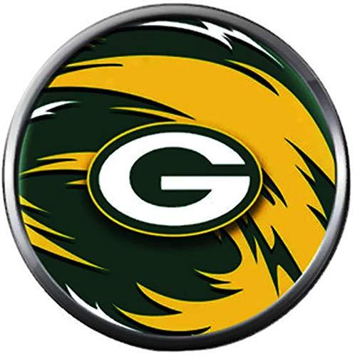 NFL Green Bay Packers Swirl Logo Football Fan Team Spirit 18MM - 20MM Fashion Snap Charm ()