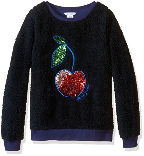 Little Marc Jacobs Girls' Faux Fur With Sequined Cherry Pattern Sweatshirt (Big), Blue Cargo, 6 (Little Kids) by Little Marc Jacobs