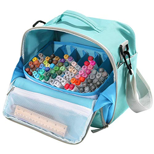 Togood Storage Tote Bag for Marker Pens Brush Pen Coloring Pencils Books Art and Crafts Supplies Tools Cosmetics, Up to 130 Pens,Light Green ()