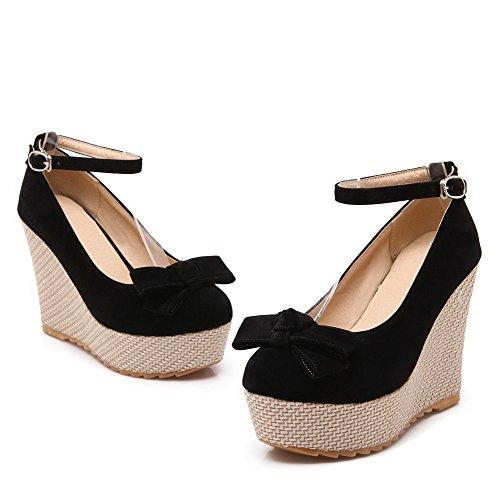 Allhqfashion Womens Sandalo Con Fibbia Tinta Unita Tacco Alto Scarpe Con Tacchi Alti Nero