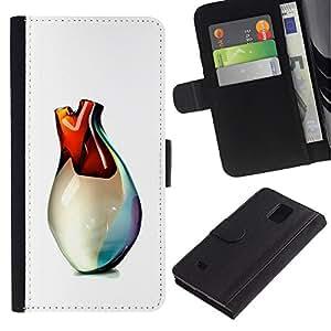 LASTONE PHONE CASE / Lujo Billetera de Cuero Caso del tirón Titular de la tarjeta Flip Carcasa Funda para Samsung Galaxy Note 4 SM-N910 / Heart Of Glass Vase Art 3D White