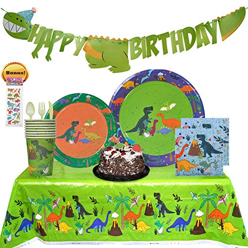 (PartyLandUSA Dinosaur Party Supplies. 140+ Set with Banner, Napkins, Cups, Plates, Tablecloth, Dinosaurs Stickers and Cake Toppers. Dino World Jurassic Theme Birthday Decorations. For Boys or)