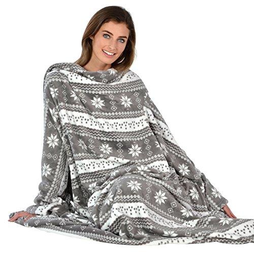 Autumn Faith Snowflake Patterned Snuggle Blanket Cosy Fleece Sleeves Winter...