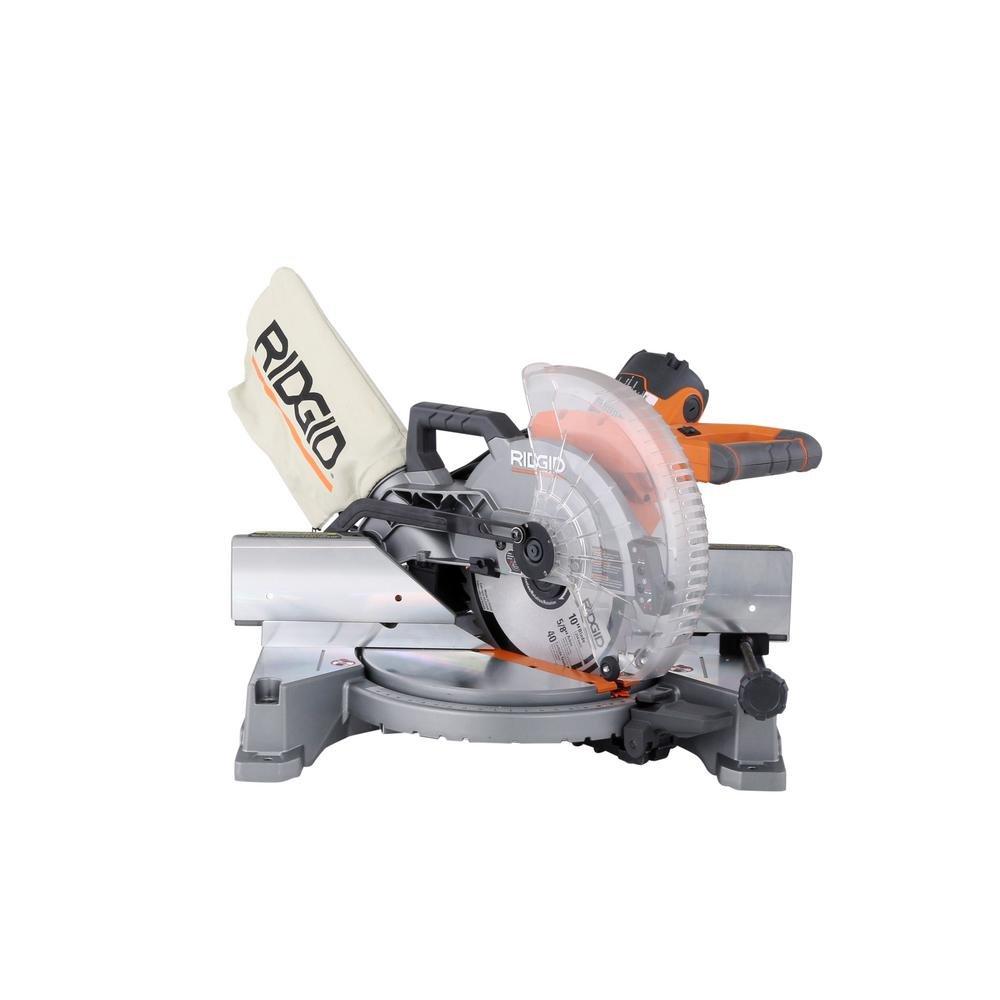 RIDGID 15-Amp 10 in. Dual Bevel Miter Saw with Laser