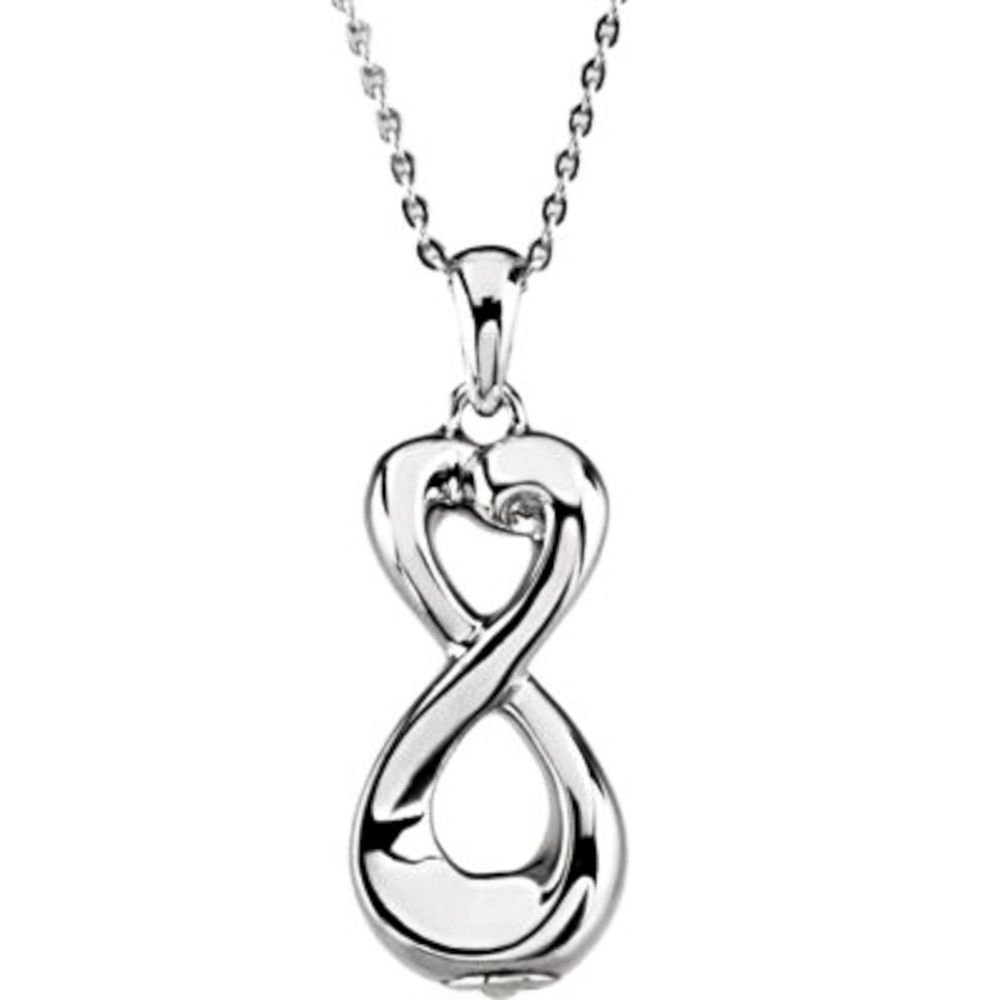 Infinite Love Ash Holder Pendant with 18'' Necklace - Inspirational Blessings in Sterling Silver