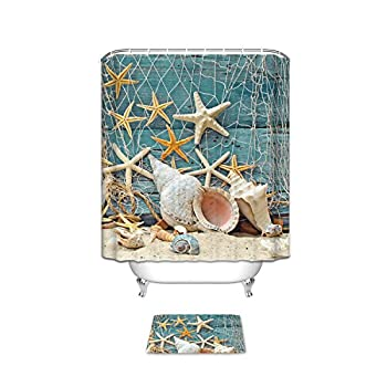 CHARMHOME Conch Shell Starfish Waterproof Bathroom Shower Curtain and Doormat Sets