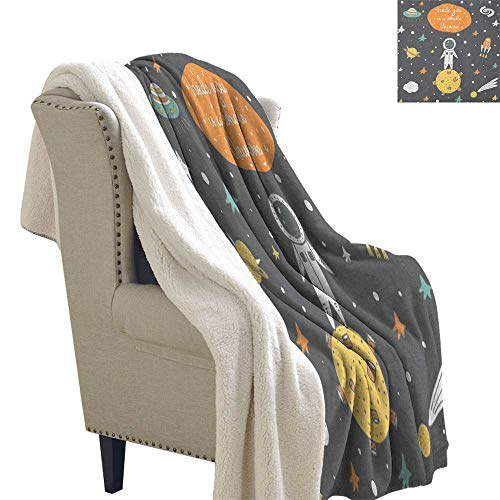 Outer Space Fleece Blanket Doodle Style Astronaut Alien Planets and Spaceships with a Motivational Quote Blanket Small Quilt 60x78 Inch ()