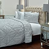 Rizzy Home QLTBQ4199SVGY1692 Stirling Quilt,Silver Grey,King