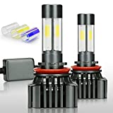 (US) Zdatt 12000LM H11 LED Headlight Bulbs Super Bright 100W H8 H9 Fog Lights Conversion Kits 360 Degree(4 Sides) Lighting Lamps for Car Light Replacement-3000K Yellow/6000K Cool White/8000K Blue(2 Pack)