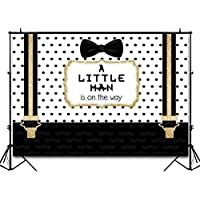 Funnytree 7X5ft Black and Gold Little Man Baby Shower Backdrop Boy Bow Tie Gentleman Party Background Mustache Polka Dots Photography Photo Booth Cake Table Banner