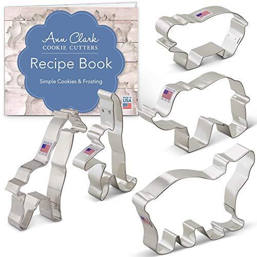 (Zoo Animals Cookie Cutter Set with Recipe Booklet - 5 piece -Extra Large- Elephant, Giraffe, Hippo, Polar Bear, Monkey - Ann Clark - US Tin Plated Steel)