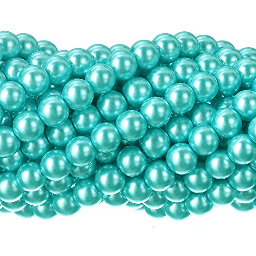 RUBYCA 200Pcs Czech Tiny Satin Luster Glass Pearl Round Beads DIY Jewelry Making 8mm Aquamarine Blue (Aquamarine Round Beads)