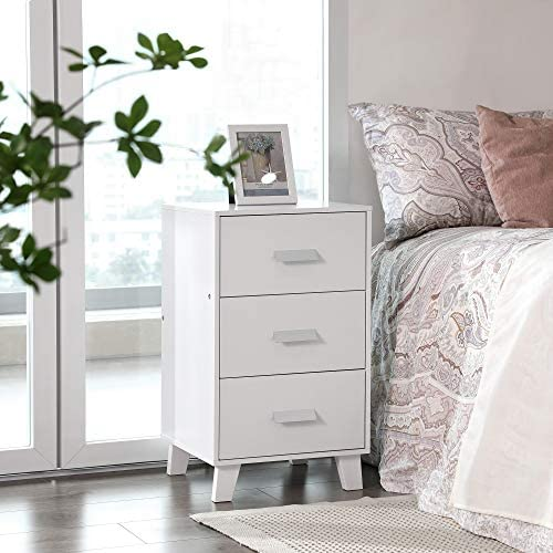 Modern Bedside Tables with Pine Wood Legs and Durable Structure Bedroom White RDN102WT 40 x 38 x 70 cm for Living Room VASAGLE Set of 2 Nightstands with 3 Drawers