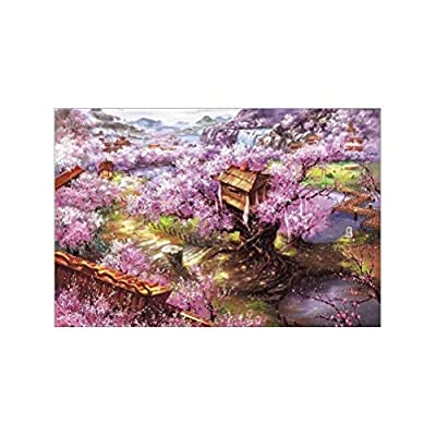 1000 Pieces Liberty Puzzles,Purple Sakura Villa,Warm Oil Painting Jigsaw Wooden Puzzles Toys for Adults Family Wall Decoration: Home Improvement