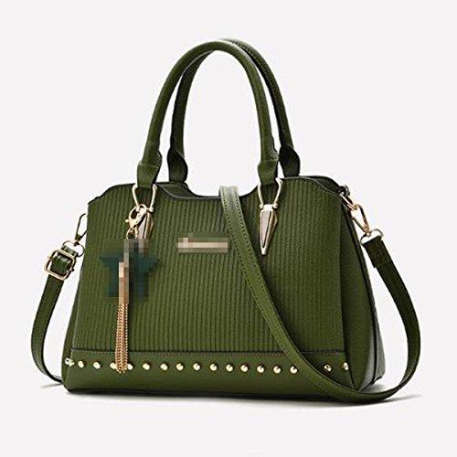 Señora Fashion Stripe Bolso De Cuero De La PU Satchel Top Handle Bag Shoulder Bag Para Mujeres Multicolor Green