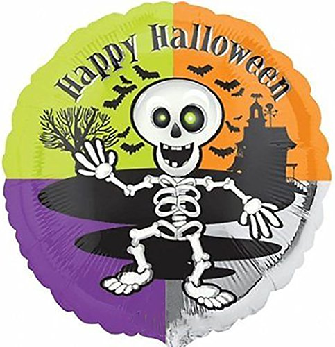 """Custom, Fun & Cool {Big Large Size 18"""" Inch} 1 Unit of Helium & Air Inflatable Mylar Foil Balloon w/ Smiling Dancing Skeleton Happy Halloween Design [in Orange, Black, White, Green & Purple] (Orange And Black Halloween Colors Meaning)"""