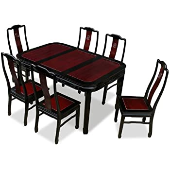 China Furniture Online Rosewood Dining Table, 60 Inches Longevity Motif  Dining Set With 6 Chairs