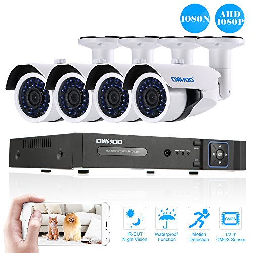 OWSOO CCTV Security System System 4CH H.264 Full 1080N DVR +4pcs 1080P AHD IR CCTV Camera + 4pcs 60ft Surveillance Cable Support Phone APP Control Motion Detection Night Vision
