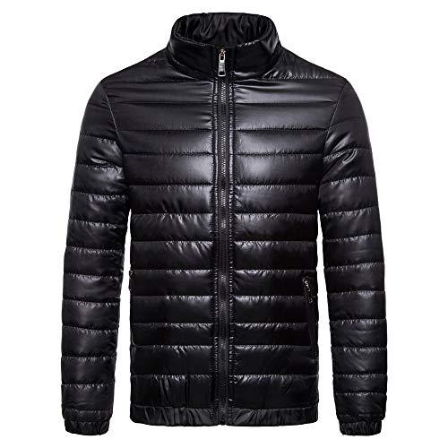 YOcheerful Men Eiderdown Garment Down Coat Down Jacket Winter Outwear Outerwear Top (Black,S)
