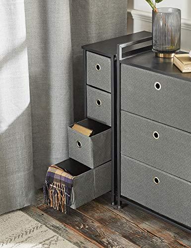 Commode Étroit à 4 Tiroirs en Tissu Meuble de Rangement Petite Cabinet Armoire Metallique Pieds Réglables pour Espaces…
