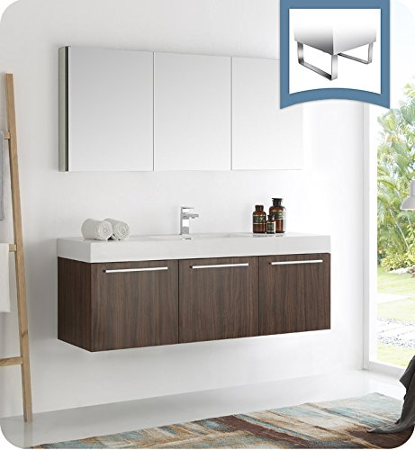 nut Wall Hung Single Sink Modern Bathroom Vanity with Medicine Cabinet (Fresca Vista Walnut)