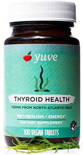 (Yuve Natural Sea Kelp Supplement - Thyroid Support with Iodine - Vegan, Plant Based, Non-GMO, Gluten-Free, Soy-Free - Pure Dried Seaweed Sourced from North Atlantic Ocean - 100 Tablets (225mcg))