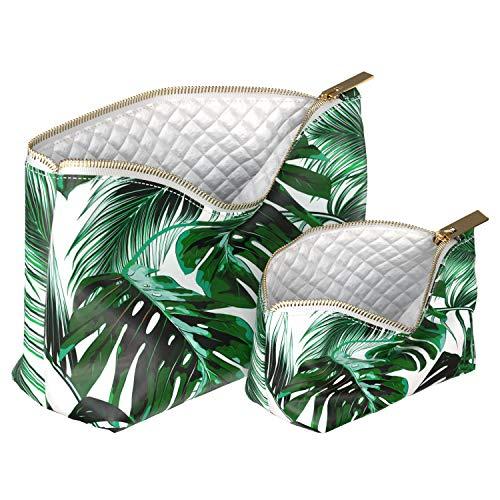 Wonder Wild 2 Pac Handmade Makeup Bags Waterproof Cosmetic Handbag Mini Travel Organizer with Metal Zipper for Women Girl Lady Nature Tropical Print Green Palm Monstera Banana Botanical Leaves Spring