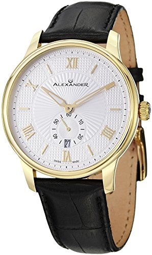 Alexander Statesman Regalia Men's Black Leather Strap Yellow Gold Plated Swiss Made Watch -