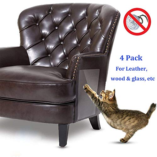 Vinyl Pet (XoYo Cat Scratch Furniture (23.6''x7.9''), 4 PCS Clear Premium Heavy Duty Flexible Vinyl Pet Couch Protector, Stops Scratching Cats Furniture Protector (23.6''x7.9'', for Leather, Wood & Glass, etc))