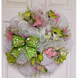 Mothers Day or Spring Butterfly Deco Mesh Pink Green Wreath with Changeable Bows 22