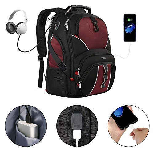 17 inch Laptop Backpack,Large Travel Backpacks with USB Charger Port for Men Women,Smart Scan Computer Bag w/Bottle Umbrella Organizer,Water Resistant Business Bag fit 15 15.6 in Notebook- Red