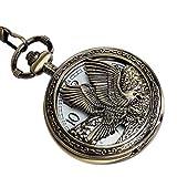 Eagle Design Pocket Watch Chain Quartz Movement Arabic Numerals Half Hunter + Box