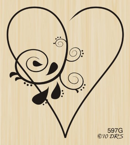 Girl Swirl Heart Rubber Stamp By DRS Designs - Swirl Heart Rubber Stamp