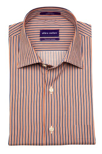 Alara Navy Mocha Engineered Stripe in Sueded Italian Twill Dress Shirt with Pocket Egyptian Cotton (XX-Large) (Collar Shirt Dress Cotton Italian)