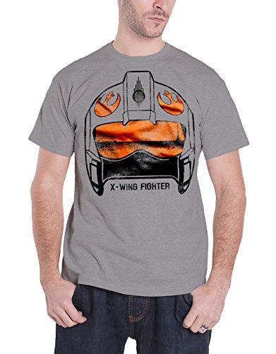 Star Wars T Shirt X-Wing Fighter Helmet new Official Mens Grey