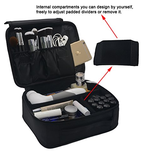 Lmeison Premium Waterproof Portable Velcro Travel makeup bag / Makeup Brush Sets / Cosmetic Artist Organizer Kit for Women Makeup or Men Shaving Kit for vacation-Black