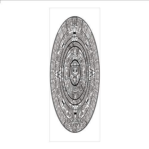 3D Decorative Film Privacy Window Film No Glue,Mesoamerican Decor,Maya Calendar Illustration Accurate Antiquities Astrological Aztec Geometric Indigenous,for Home&Office