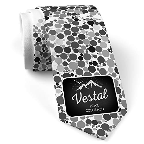 - Neck Tie with Mountains chalkboard Vestal Peak - Colorado White with Color Print