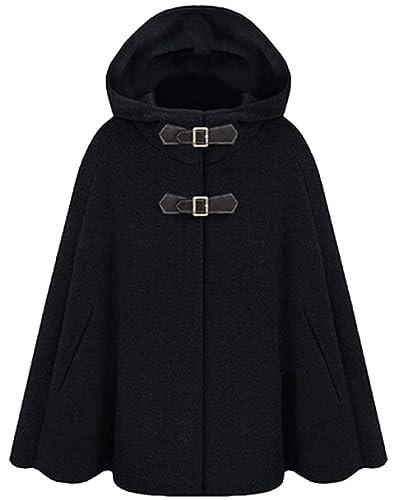 Mujer Chaqueta de Invierno Capa con Capucha Batwing Cape Jacket Poncho Coat