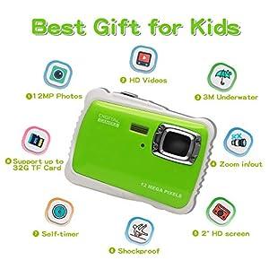 "ISHARE Kids Camera, 12MP 1080P Waterproof Digital Camera 2"" LCD, 8X Digital Zoom, Flash Kids Girls Boys…… by iShareDirect"