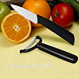 iMounTEK 2 Piece Kitchen Ceramic Vegetable Fruit Meat Razor Sharp Blade Knife & Y shape Potato Peeler Set with Black Handle. Greater Wearing Resistance, Ultra Lightweight, Will Not Alter the Taste, Smell, Or Appearance of Food, & Rust.