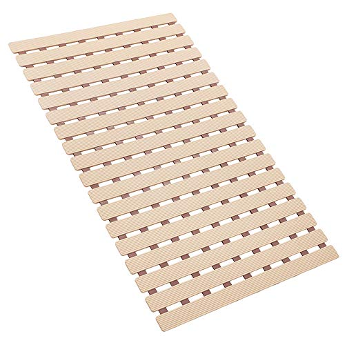 Bligli Non Slip Shower Mat Bath Mat with Rapid Drainage and TPE Resilience Suction Cups Floor Mat for Bathroom(Light Brown)