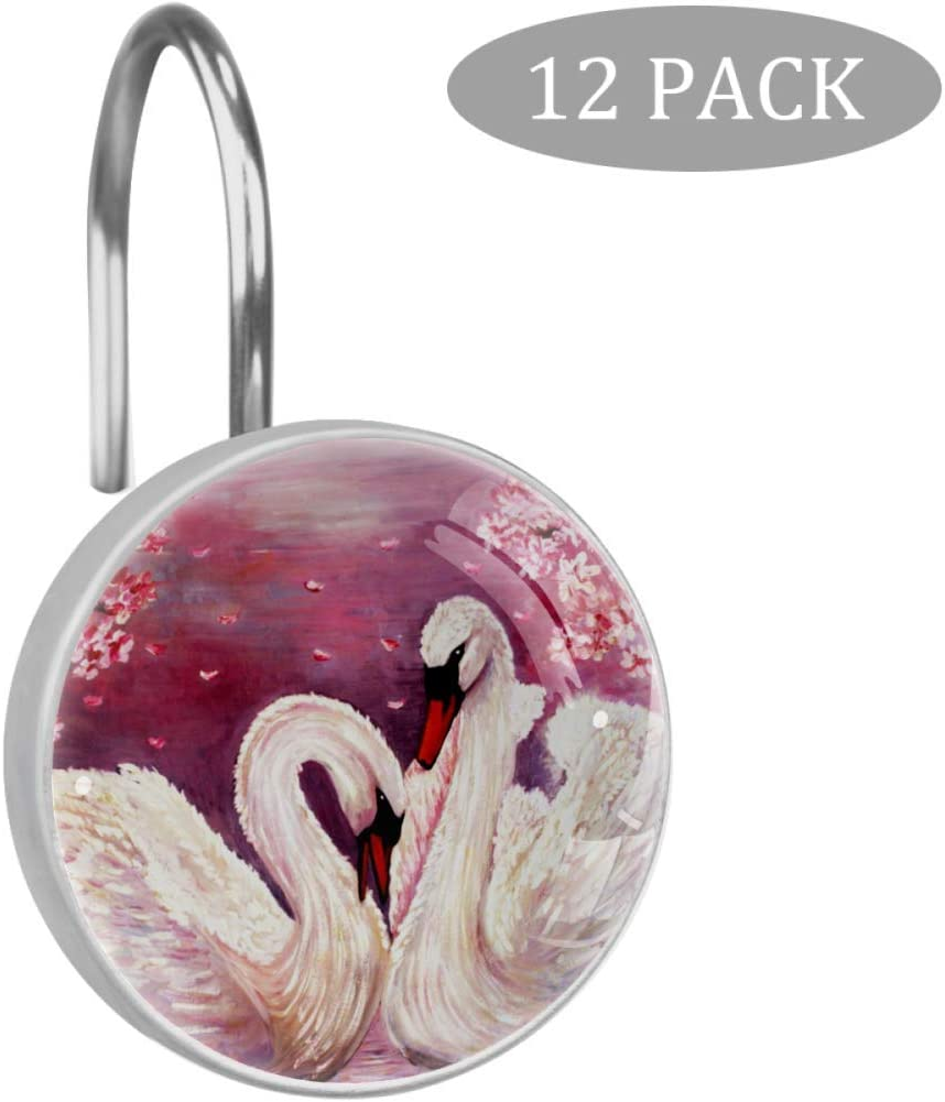Inhomer Oil Painting Swan Pink FlowersShower Curtain Hooks- Set of 12- Decorative Rust Resistant Bath Hook- Durable Construction- Smooth Gliding Mechanism- for Elegant Bathroom Decor