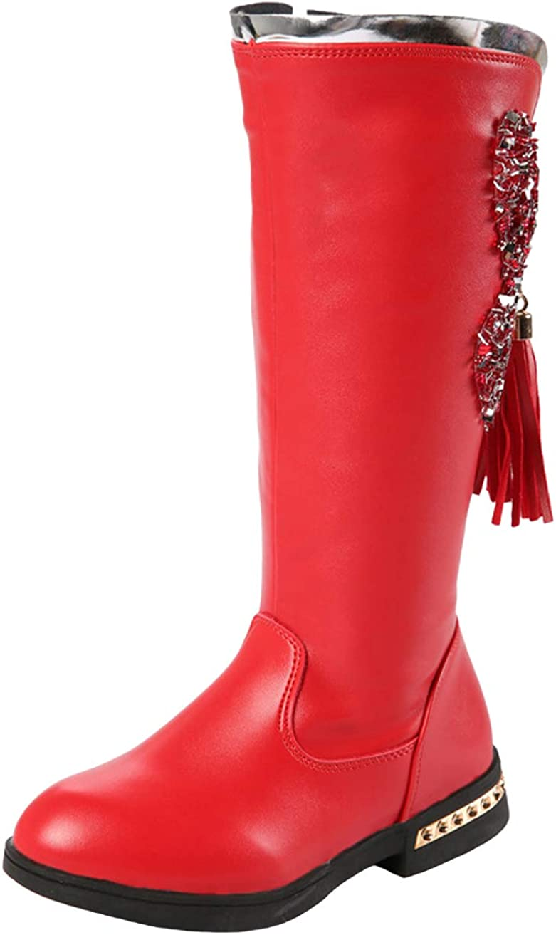 WUIWUIYU Girls Fashion Side-Zipper Knee High Cosplay Costume Performance Boots Princess Shoes Red Size 13 M